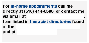 For in-home appointments call me directly at (510) 414-0586, or contact me via email at hands4healing1@gmail.com. 